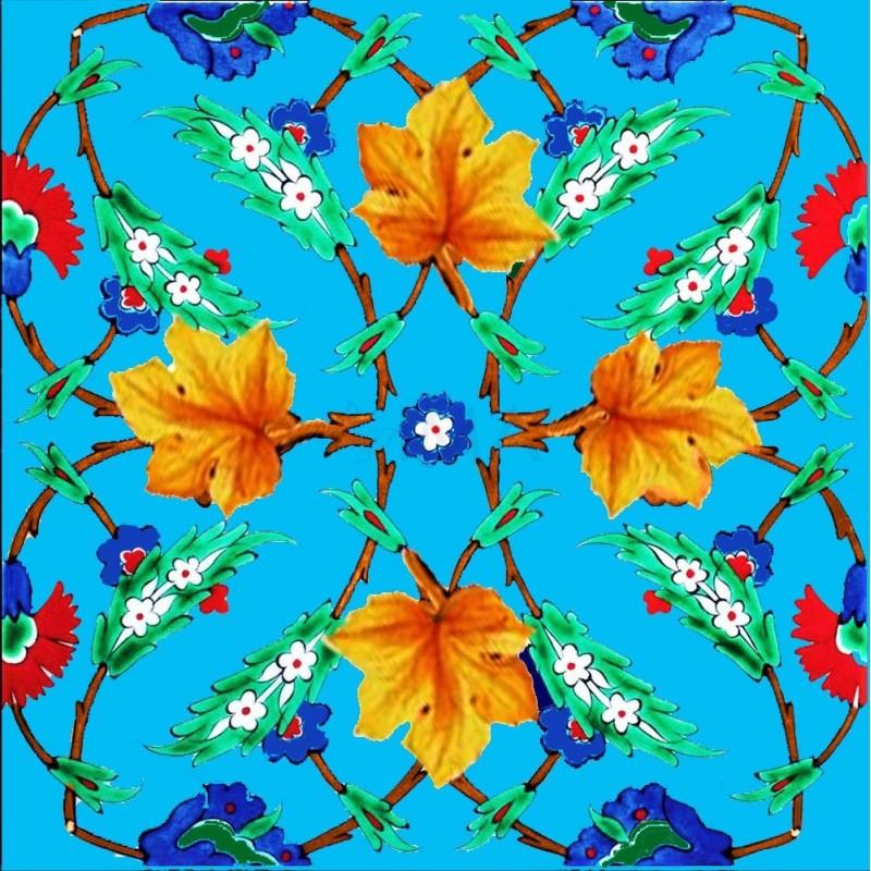 "Green /& Blue 8/""x8/"" Ottoman Iznik Floral Pattern Ceramic Tile BORDER 10 Red"